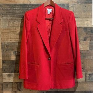 Talbots red wool long blazer jacket lined